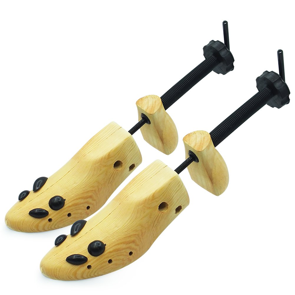 Wooden Shoe Stretcher Adjustable 2-Way Shoe Trees For Men & Women,Set of 2 (Medium Size)