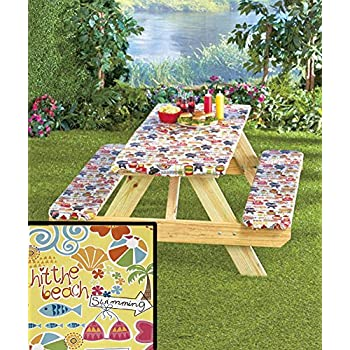 Amazon Com 3 Piece Fitted Picnic Table Amp Bench Seat Cover