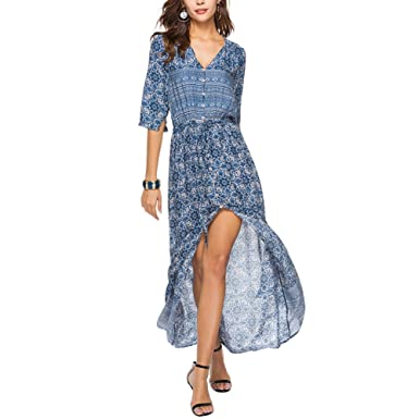 1bda99a2a91 iShine Robe Femme avec Impression en Style Bohème V-col Bouton Fermé  Demi-Manchons