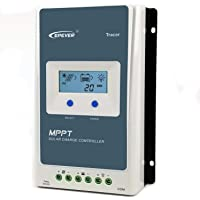 EPEVER - Controlador de carga MPPT de 30 A, 12 V, 24 V, con pantalla retroiluminada, identificación automática del voltaje del sistema