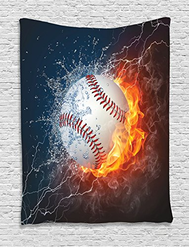 - Ambesonne Sports Decor Collection, Baseball Ball on Fire and Water Flame Splashing Thunder Lightning Creative Art, Bedroom Living Room Dorm Wall Hanging Tapestry, White Blue Red Orange