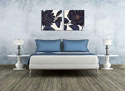 Peony Artwork Handpainted Canvas Art Abstract Plant Art Blue Peony Picture Print on Wrapped Canvas 2Panels 24×24 inch Oil Painting Pictures For Any Room Wall Decor