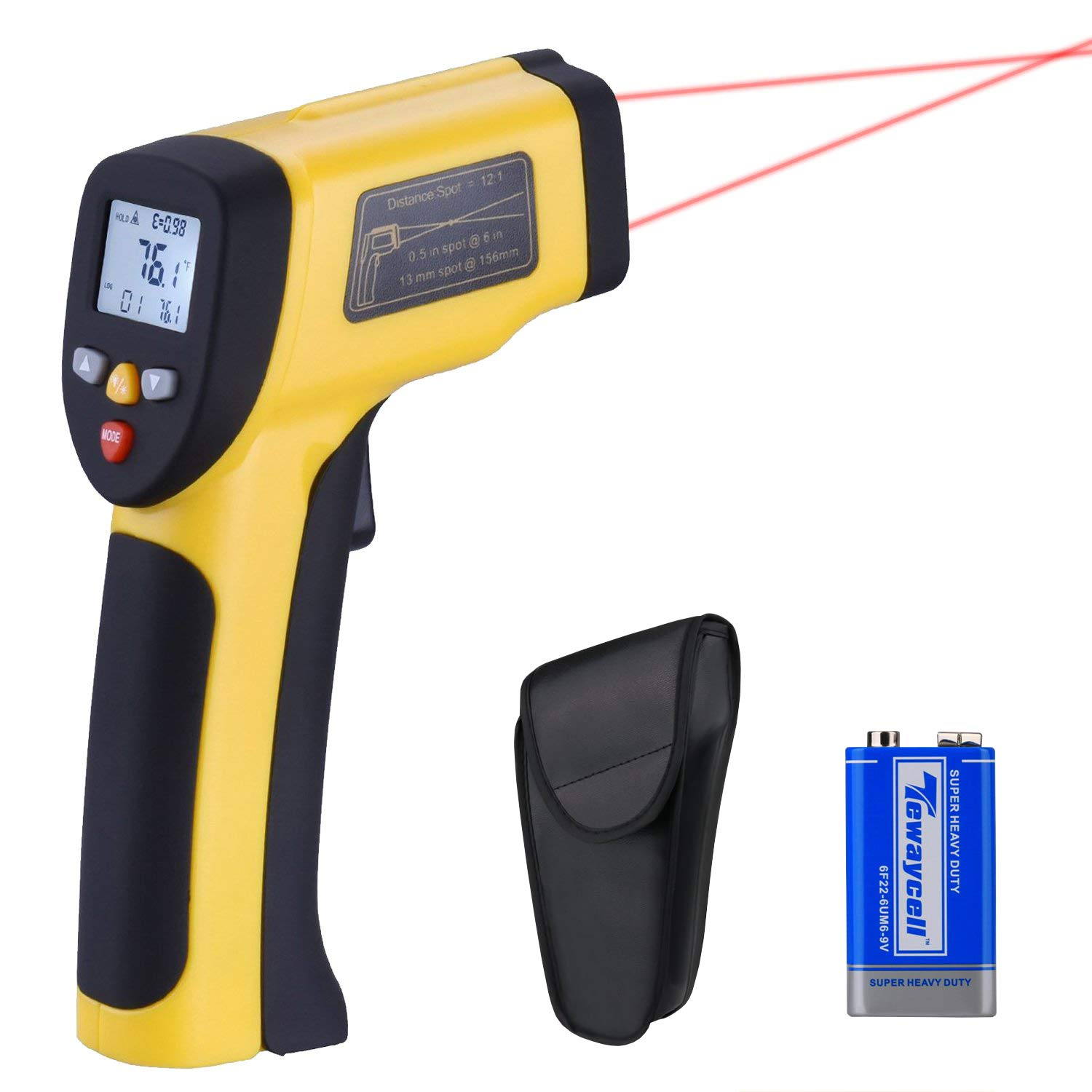 LURICO Infrared Thermometer, Helect Non-contact Digital Laser Temperature Gun (-58°F~1202°F/-50°C~650°C) - Accurate Digital Surface IR Thermometer with LCD Display (Battery Included) by LURICO