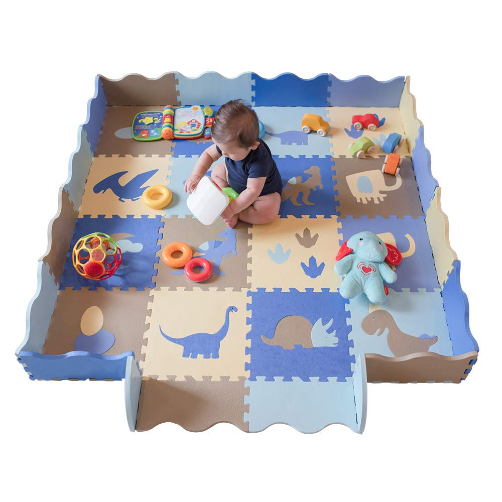 "little dove Baby Floor Mat Interlocking Play Mats for Infant Tummy Time Kids Padded Play mats Non Toxic Thick Floor Mat with Fence Dinosaur Pattern 75"" x 45"""