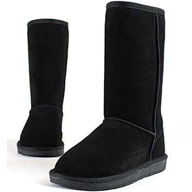 New Mooda Snow Winter Warm Womens Trend Long Boots Leather Shoes Black