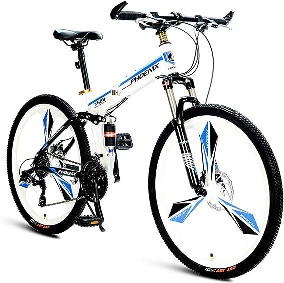 NENGGE Plegable Bicicleta Montaña, 21 Velocidades Doble Suspensión Bicicleta BTT, Marco De Acero De Alto Carbono Doble Freno Disco Bicicleta de Montaña para Mujer,Blanco: Amazon.es: Hogar