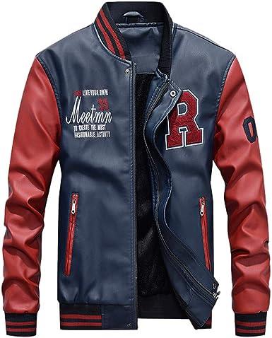 KEERADS Hommes Vest Casuel Cuir PU Teddy Baseball Blouson avec Doublure Manche Longue Fermeture éclair Jackets