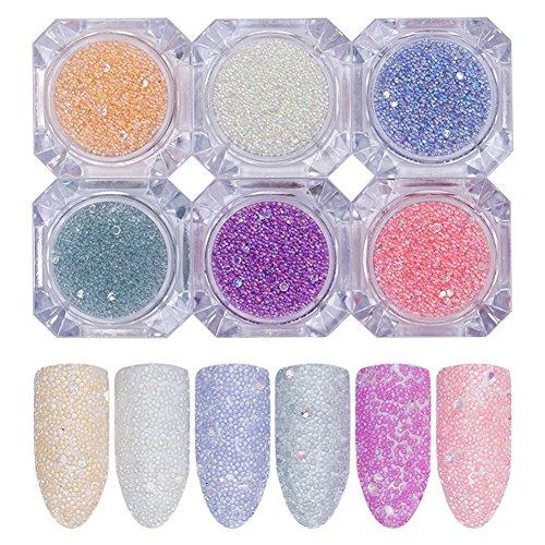 BONNIESTORE 6 Box Micro Crystals Nails 3D Nail Decoration AB Caviar Beads Colorful Mini Glass Bubble Manicure Nail Art DIY Decoration (6 Colors)