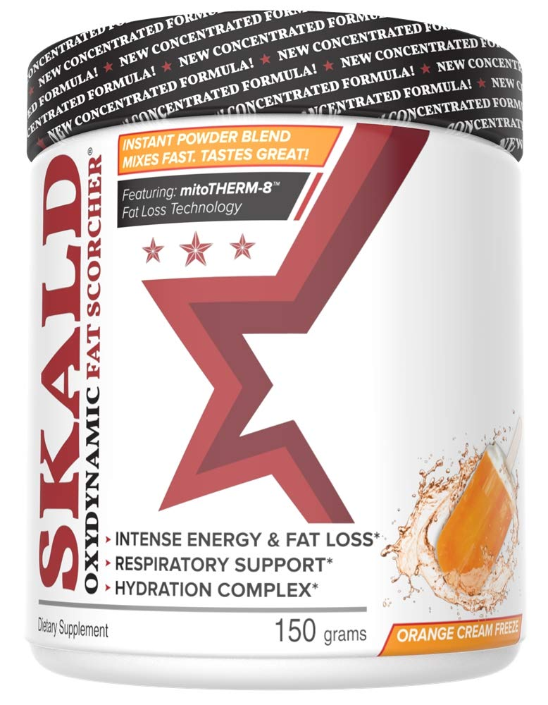 SKALD Powder - First Pre Workout Fat Burner with Respiratory Support - Best Thermogenic Weight Loss Drink for Men and Women - for Energy, Cardio and Endurance (Orange Cream - with Hydration Blend)