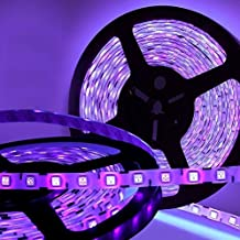 AMARS Waterproof 5M/16.4ft 5050 SMD 395nm-405nm LED Blacklights UV Light Strip DC12V 60leds/m 300leds Ultraviolet LED Light Fixtures