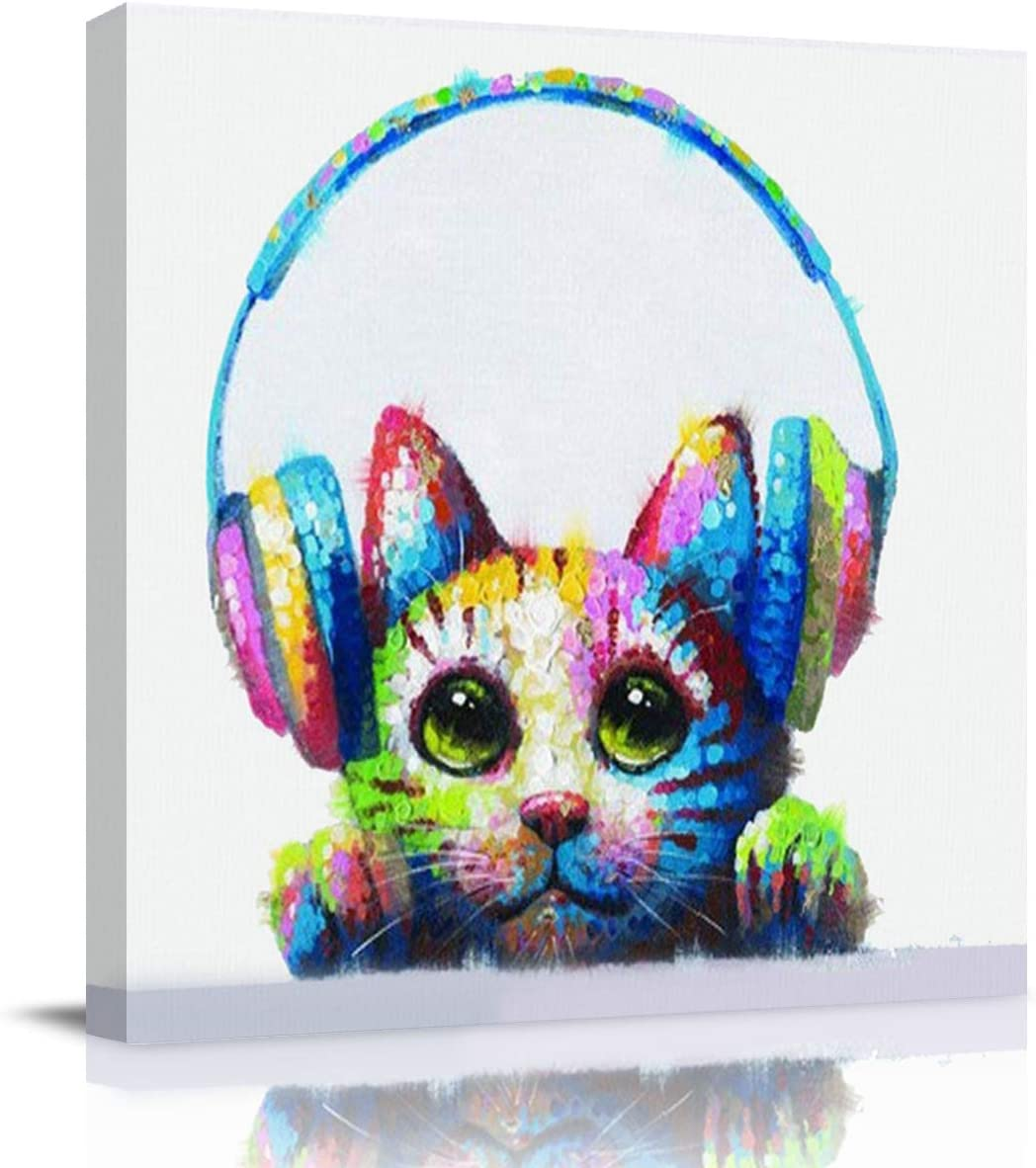 Crystal Emotion Cat With Headphones Canvas Square Wall Art Oil Painting Hand Painted 12 Inch Morden Artwork Prints Picture Paintings For Home Living Room Decor Gift Framed Ready To Hang Posters Prints
