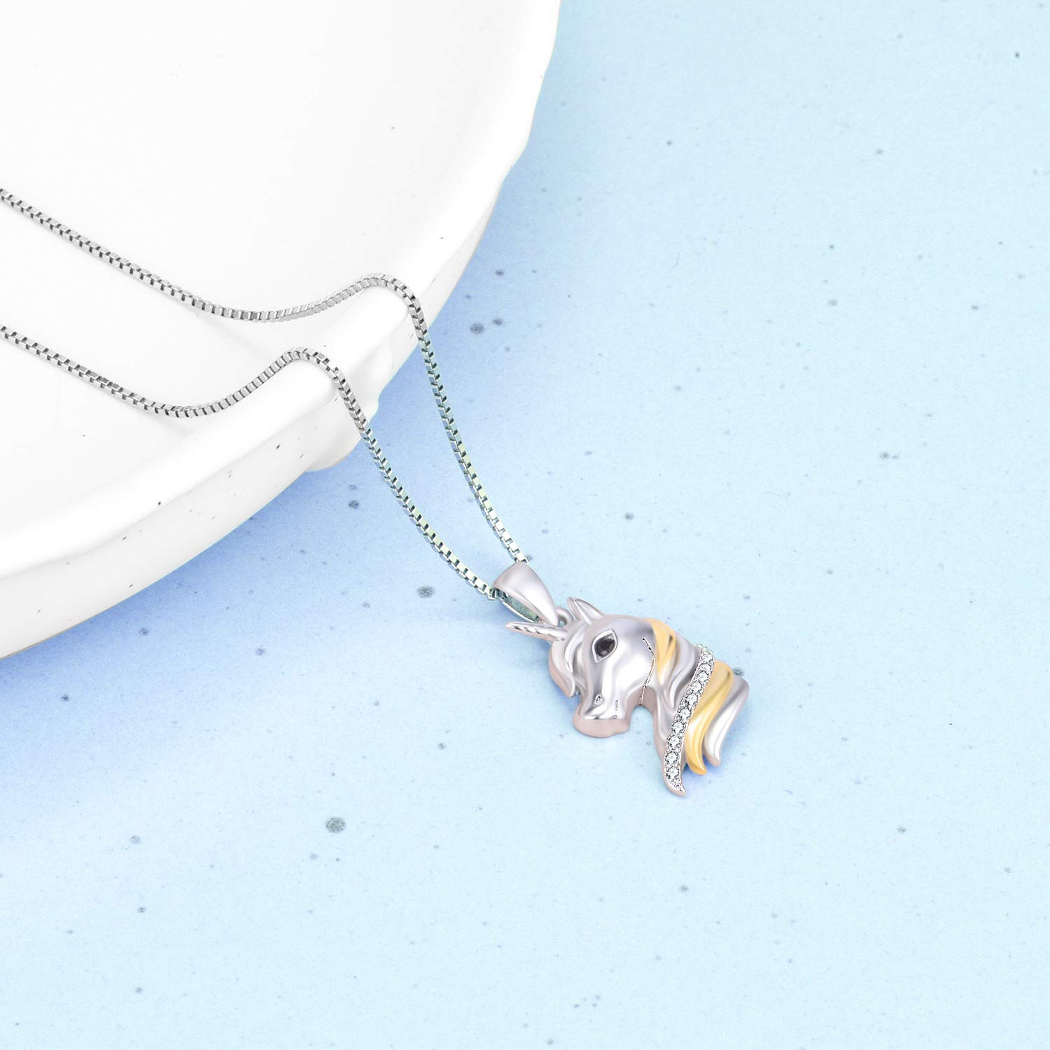 cc78a23cd Amazon.com: YFN Sterling Silver Unicorn Two-Tone Pendant Necklace for Women  Girls (Silver Unicorn Necklace): Jewelry