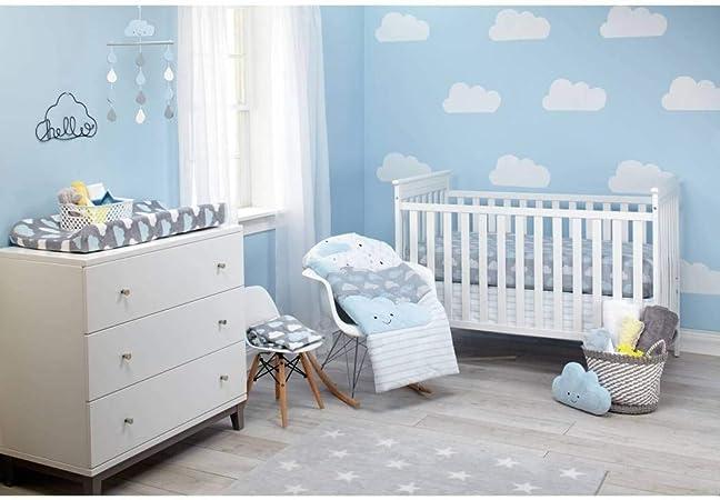 5 piezas gris rayas blancas de cielo azul nubes cuna juego de cama, recién nacido bebé