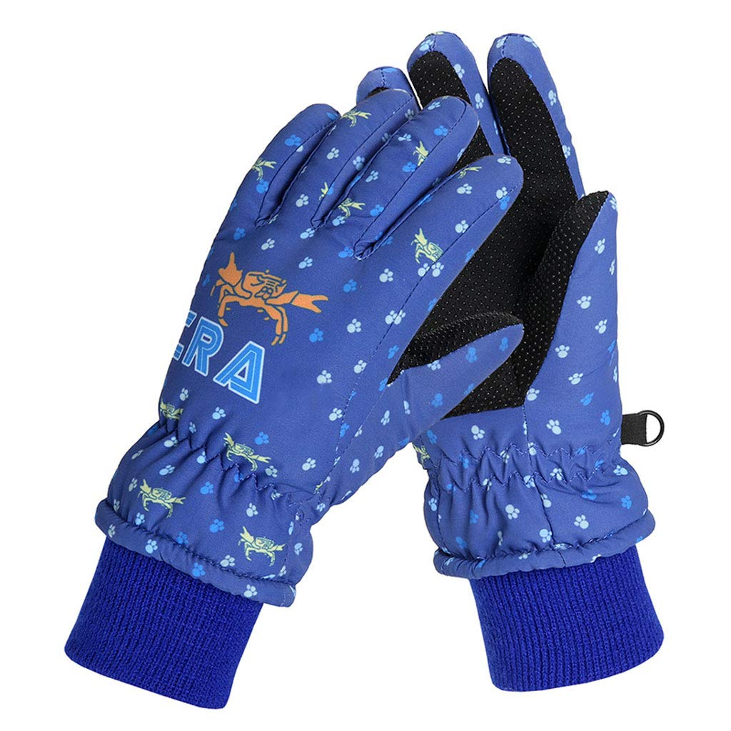 Children's winter gloves, boys and girls outdoor skiing non-slip gloves, windproof waterproof cotton gloves