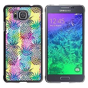 Caucho caso de Shell duro de la cubierta de accesorios de protección BY RAYDREAMMM - Samsung GALAXY ALPHA G850 - Pineapples Colorful Fruit