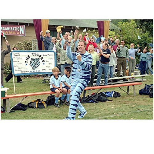 Kicking and Screaming (2005) 8 inch by 10 inch PHOTOGRAPH Will Ferrell Cheering at Soccer Game in Blue Striped Mascot Costume kn