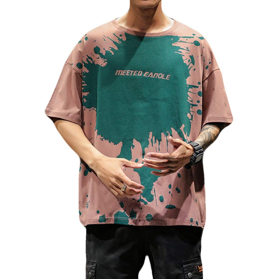 Young2 Mens Hippie Plus Size Short Sleeves Casual Graphic T Shirts