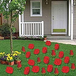 Valentine's Lawn Decorations - A Yard Full of Red Roses (Set of 24) w/24 short stakes