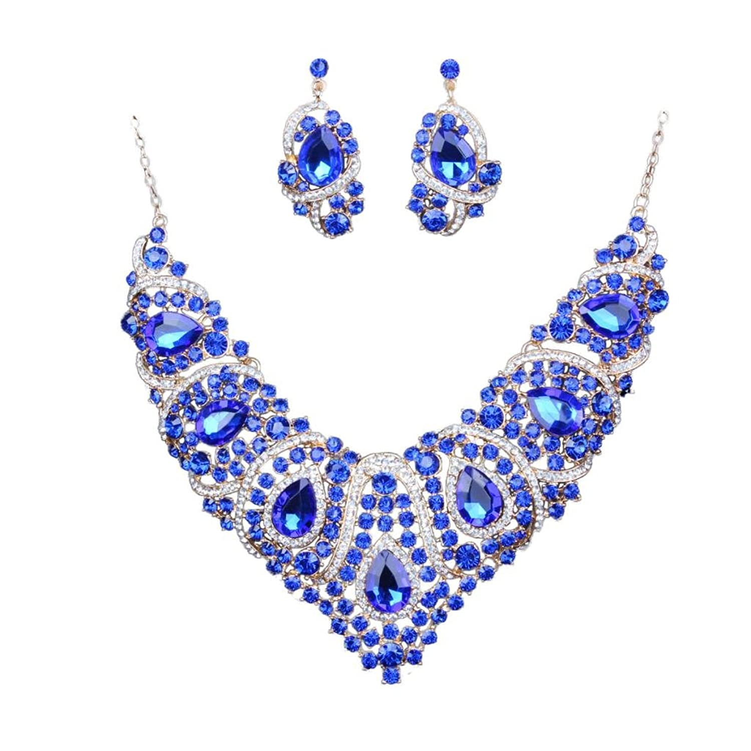 MagiDeal Luxury Opal Crystal Tulip Pendant Necklace Earring Wedding Bride Jewelry Set 3rtToPu