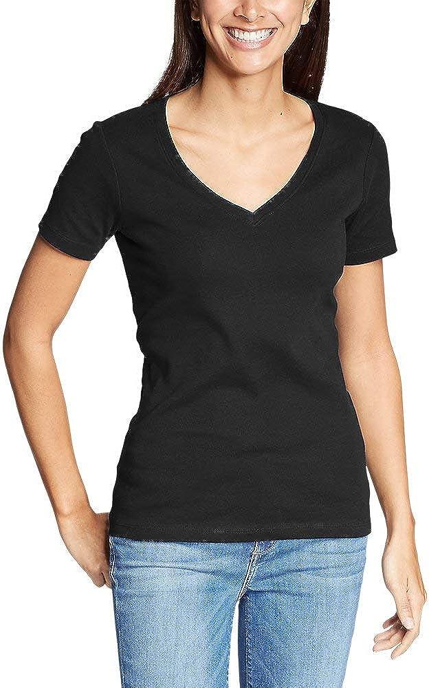 Eddie Bauer Women's Favorite Short-Sleeve V-Neck T-Shirt, Black Regular XXL