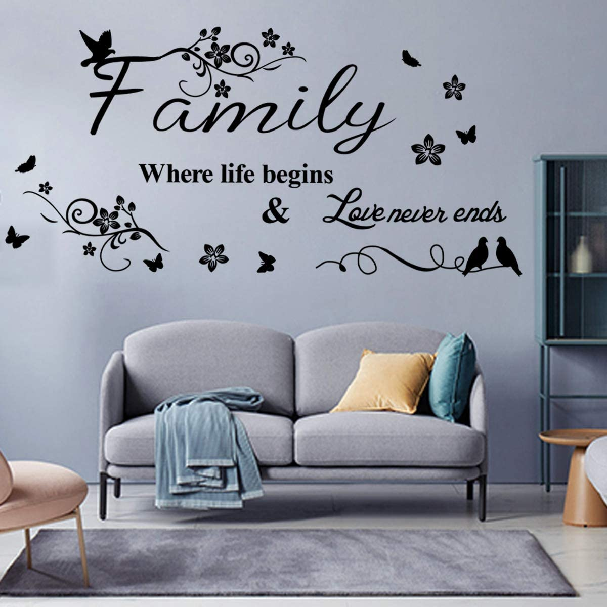 Black Large Wall Decor Wall Stickers for Living Room Bedroom Kitchen Quote- Family Where Life Begins & Love Never Ends Quote Removable Vinyl Home Art Decals Murals CASADECOR.
