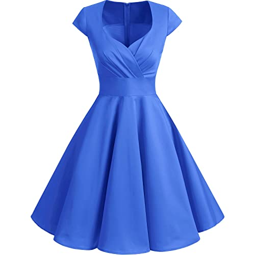bbonlinedress Womens 50s 60s A Line Rockabilly Dress Cap Sleeve Floral Vintage Swing Party Dress