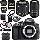 Nikon D3300 DSLR Camera with AF-P 18-55mm VR Lens (Black) + Nikon 55-300mm f/4.5-5.6G ED VR Lens + Sony 128GB SDXC Card + Carrying Case Bundle