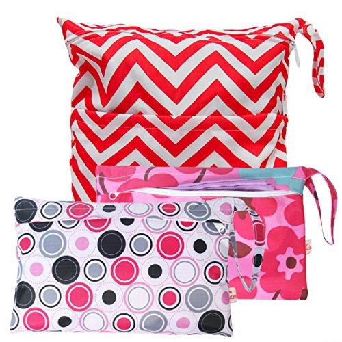 KF Baby Waterproof Cloth Diaper Travel Wet Dry Bag, Small Large Combo, Set of 3 (Diaper Bag Wristlet)