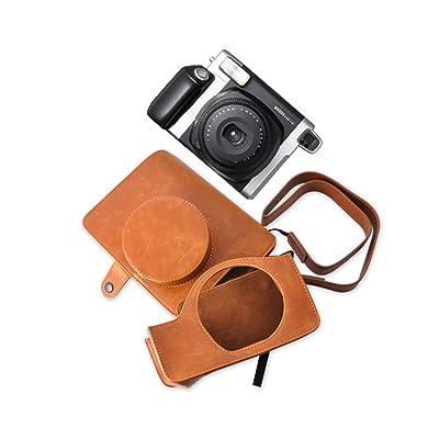 DSstyles Bolso de Cuero de PU para Fujifilm Instax WIDE 300 Camara - Marrón