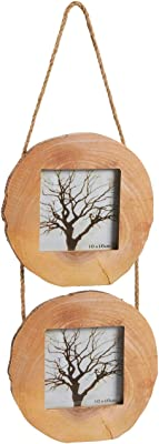 Juvale Wood Picture Round Frames Rope - 2 Frames Set Vertical Hanging Photo Frames, Unfinished Double Tree Trunk Rings Design Wall Decoration Photo Display, Holds Photos 4 x 4 inches