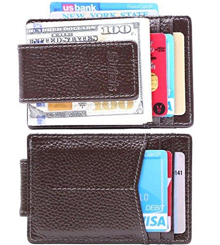 SUIEK Men's Money Clip RFID Thin Wallet - Leather Magnetic Front Pocket Slim Wallet (Dark Brown ( Embossed Full Grain Leather - 6 Card Slots)) (Brown Dark Leather Embossed)