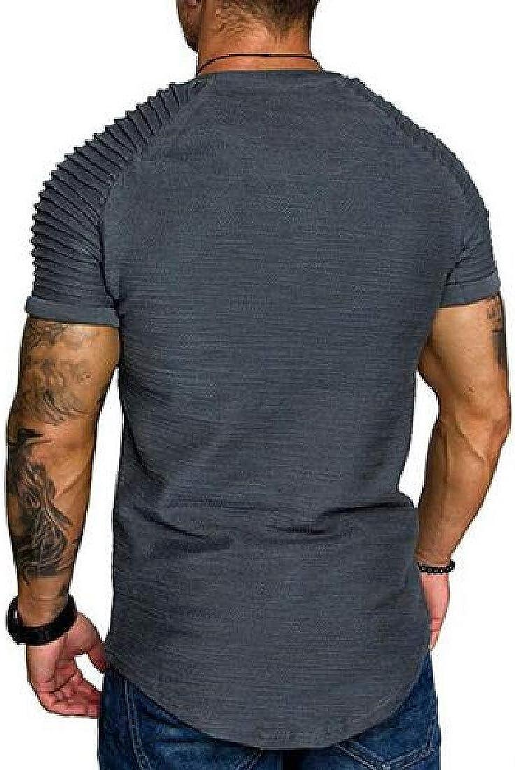 Cromoncent Mens Solid Color Slim Fit Short Sleeve Zipper Stripe Ruched T-Shirts