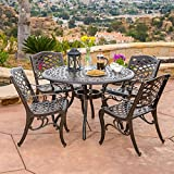 Hallandale Sarasota 5-piece Cast Aluminum Bronze Outdoor Dining Set with Mesh Chair and Round Table-top For Sale