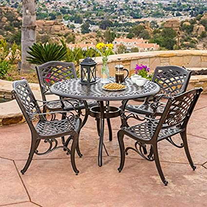 Hallandale Sarasota 5 Piece Cast Aluminum Bronze Outdoor Dining Set With  Mesh Chair And Round