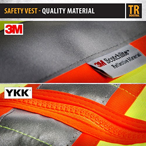 TR Industrial TR55-3M-M Class 2 3M Safety Vest with Pockets and Zipper, Medium Photo #4