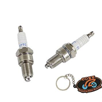 Unidades de mezcla de 2 piezas para bujías F7TC para Honda GX110 GX120 GX140 GX160 GX200 Kart para cortacésped también conocido como generador BP6ES BPR6ES ...