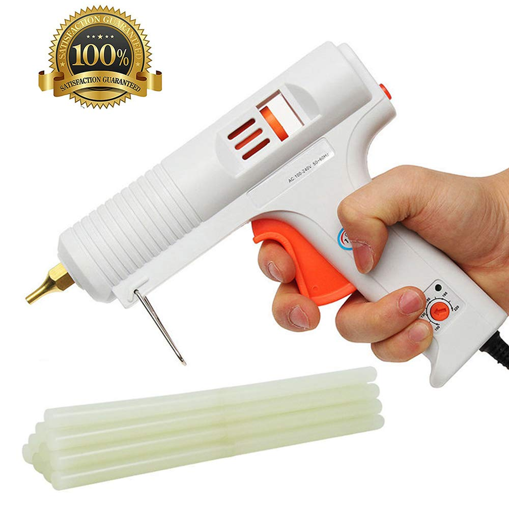 ONCCI Hot Glue Gun Adjustable Temperature 120W Professional Full Size Hot Melt with High and Low Temp Interchangeable Non-drip Nozzle for Crafts DIY Projects Home Repair/RoHS CE … (120W UK)
