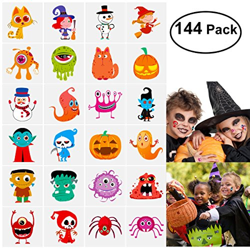 Unomor 144 Assorted Halloween Temporary Tattoo Kids, 24 Cute Designs Stick on Children Tattoos ()
