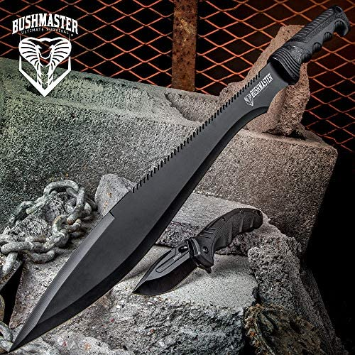 Bushmaster Cobra Strike Tactical Knife Set – 2-Piece Assisted Opening Pocket Knife Folder, Sawback Barong Machete – Black Anodized Stainless Steel – Nylon Sheath – Outdoors Combat Survival