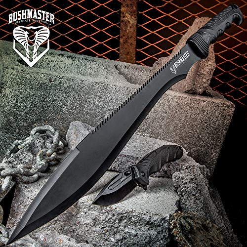 Cold Steel Barong Machete - Bushmaster Cobra Strike Tactical Knife Set - 2-Piece: Assisted Opening Pocket Knife/Folder, Sawback Barong Machete - Black Anodized Stainless Steel - Nylon Sheath - Outdoors Combat Survival
