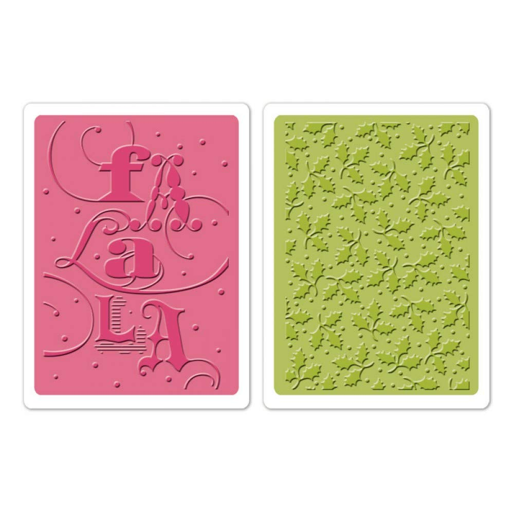 Sizzix Favorite Things Collection Textured Impressions Christmas Embossing Folders FA La La Set (6 Pack)