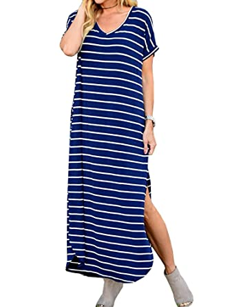 d621c972c55 Mafulus Womens Striped Maxi Dresses Casual V Neck Loose Side Slit Summer  Dress with Pockets Blue