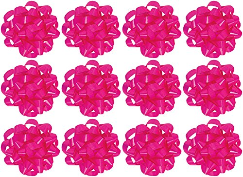 The Gift Wrap Company  Decorative Confetti Gift Bows, Large, Magenta, pack of 12