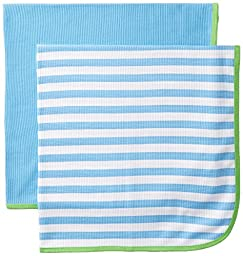 Gerber Baby Boys\' 2 Pack Thermal Blankets, Blue, One Size