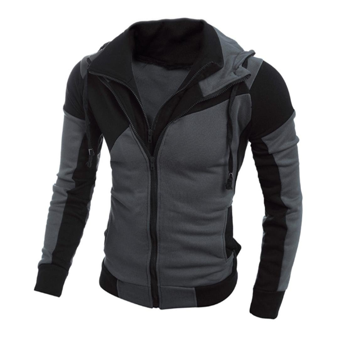 Men Zip Hoodies Kangaroo Pocket Sweatshirt Layered Jackets (Black, XXL) by HTHJSCO