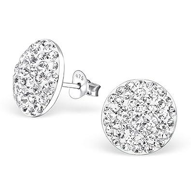 Silber ohrringe  CasaVivendi 925 Silber Ohrstecker rund mit 84 Kristall-Steinen ...