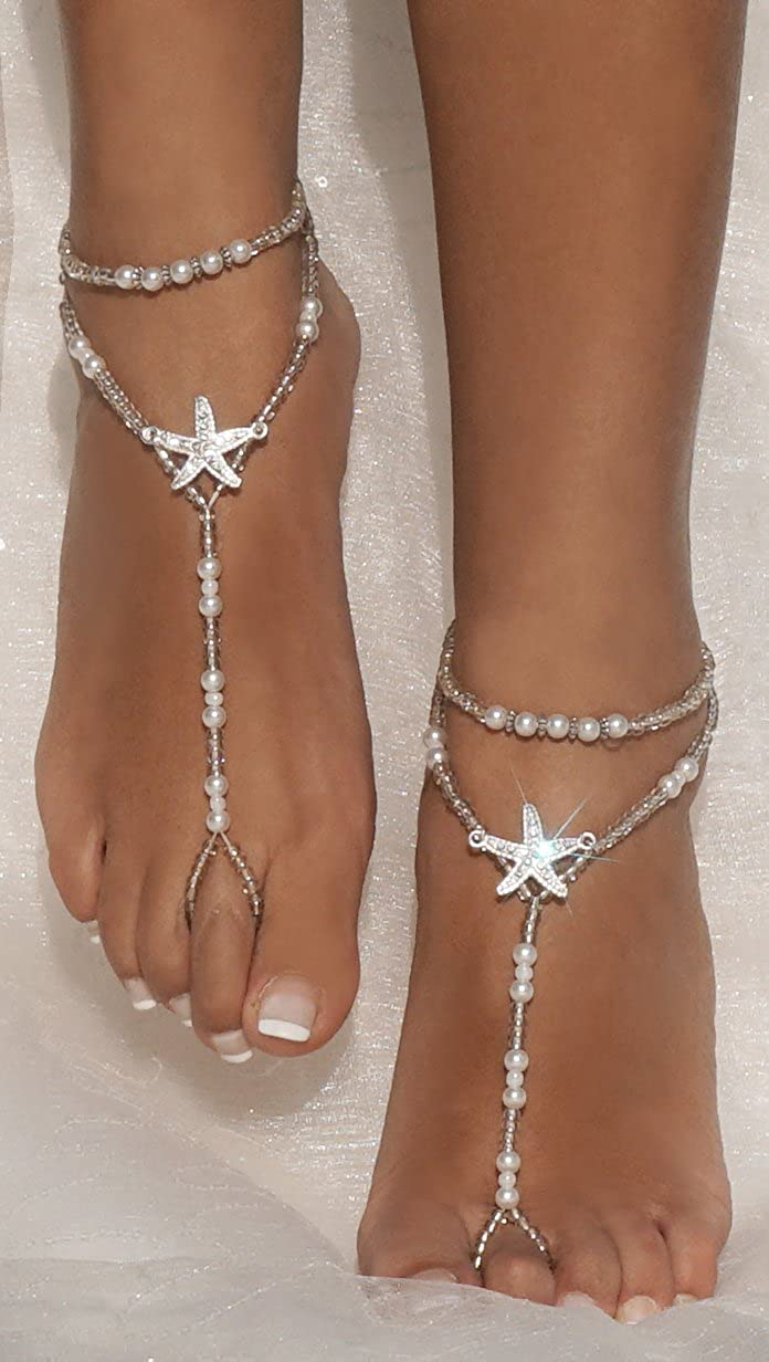 0453c33be Anklets Bellady 2Pcs Pearl Ankle Chain Barefoot Sandals with Starfish Beach  Wedding Foot Jewelry White ZXG18030134