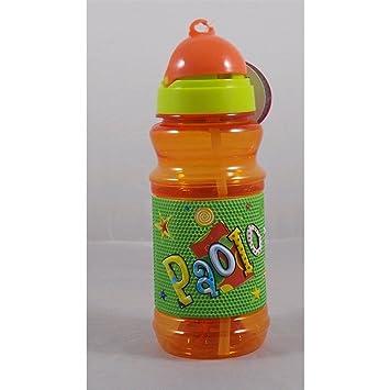 Botella Sport de plástico en relieve con texto a nombre Paolo H 19 cm