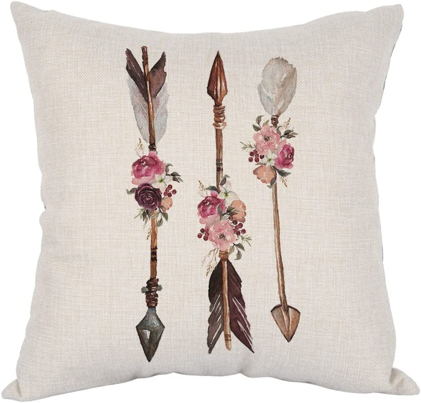 Moslion Arrows Pillow,Home Decor Throw Pillow Cover watercolor Ethnic Boho Arrows with Feathers And Flowers Cotton Linen Cushion for Couch/Sofa/Bedroom/Livingroom/Kitchen/Car 18 x 18 inch Pillow case