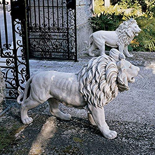 Nice1159 2 lions Statue Regal Large - Garden Entrance Doorway Ornament Lawn Decor Outdoor Art - Dimensions 25.5